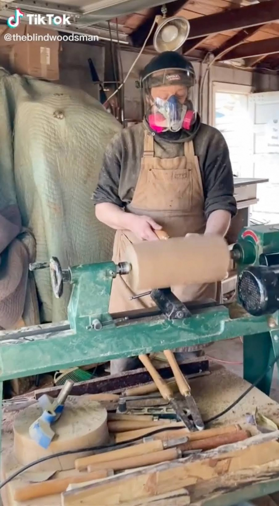 John Furniss is a woodworker who makes patterned and textured pieces in his rural Washington workshop, which has become famous on TikTok. He combines different types and colors of woods, using high-powered tools by touch and sound.