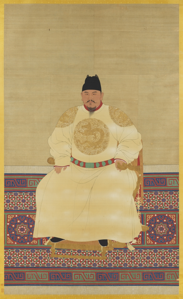 """""""A Seated Portrait of Emperor Taizu of the Ming Dynasty"""" was painted sometime during the emperor's reign, which lasted from 1368 to 1398. While history reports Emperor Taizu as a masculine figure, Shelley Parker-Chan's novel questions the validity of such"""